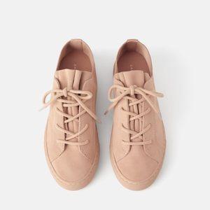 Zara pink split leather sneakers